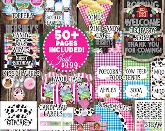 Pink Barnyard Birthday Printable Pack, Pink Farm Party, Girl Barnyard Birthday, Pink Farm Birthday Decor, Digital Barnyard Decorations