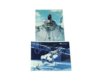Lot of 2 Vintage Rockwell Space Station / Shuttle Photos & History.  NASA / Astronaut / Photography
