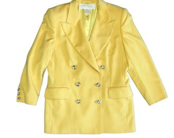 Escada Double Breasted Shoulderpadded Bright Yellow Blazer Size 42 (DE)