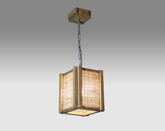 Wooden hanging lamp Pendant burlap lamp Wooden lamp Wood chandelier Rustic wood lamp Ceiling wooden lamp Warm light Natural light Wood