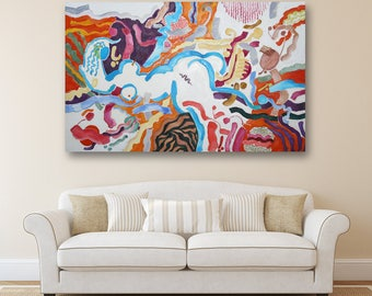 Erotic Art Abstract Art Absract Oil Painting  Canvas Art Digital Art Modern Artwork Original Painting Large Painting Nude