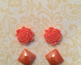 Coral floral earring set