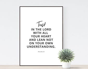 Printable scripture bible verse, Trust in the Lord with all your heart, lean not on own understanding, Proverbs 3:5, Modern minimal verse