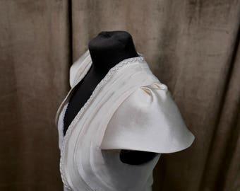 Bolero with cuffs pleated silk and lace wedding
