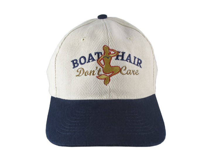 Nautical Mermaid Boat Hair Don't Care Embroidery on an Adjustable Beige Structured Retro Baseball Cap with Option to Personalize the Back