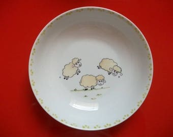 "Kids decorated with ""3 sheep playing leapfrog"" customizable Limoges porcelain plate."