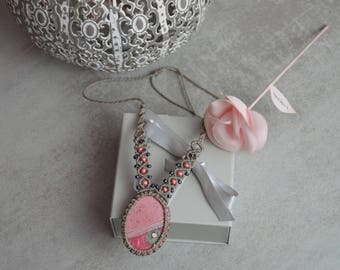 Macrame, pink, grey necklace