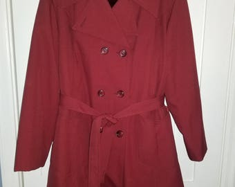Burgundy Red Pea Coat with faux fur lining