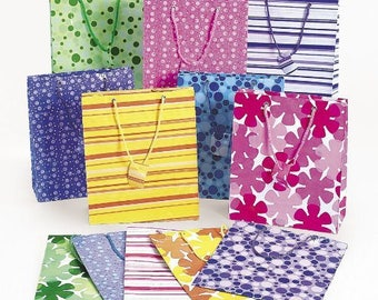 60 pack Assorted Colors Gift Bags Assorted Design Bags Shopping, Merchandise, Party, Gift Bags Striped Flowers Design