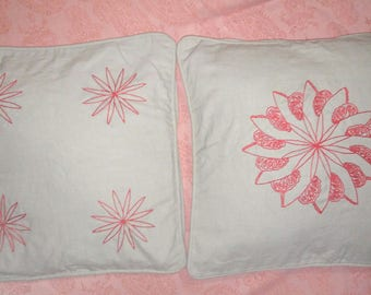 Set of two (40 X 40) hand embroidered cushion covers.