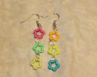 Neon Star Dangly Earrings