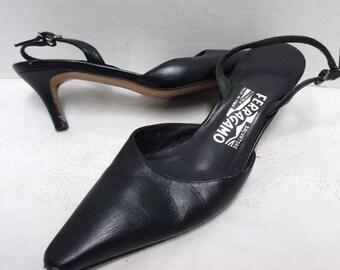 Salvatore Ferragamo Pointed Kitten Slingback  Heels