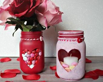 Valentine's Day Mason Jar, Valentine's Day Decor, Heart Decor