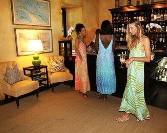 Bahama Palm Spaghetti Strapped Maxi Dress Turquoise & Green