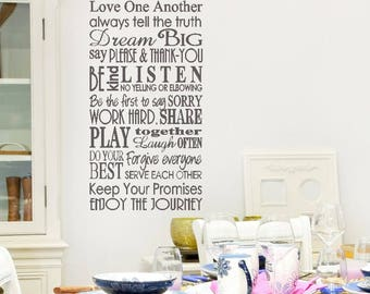 Family Rules VINYL wall decal with custom name