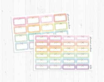Bow half quarter boxes stickers 2/label stickers/planner stickers/ECLP/EC vertical/erin condren life planner/multicolor functional/pastel