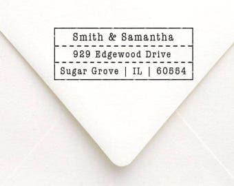 Personalized Vintage Address Stamp, Custom Self Inking Address Stamp, Wedding Favor Save the Date Stamp