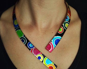 """Necklace Pop """"Tutti-Frutti"""" multicolor with engraving and silver leaf"""