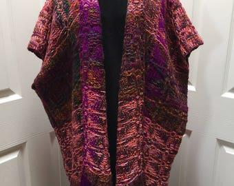 Hand woven Pink, orange & brown poncho