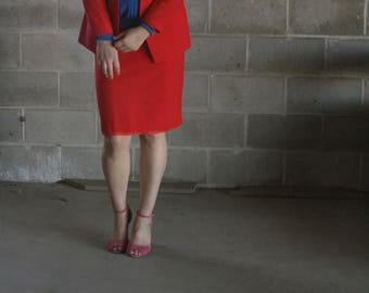 vintage 1980s fire red blazer / light weight blazer / red suit / us 8P / s / m / l