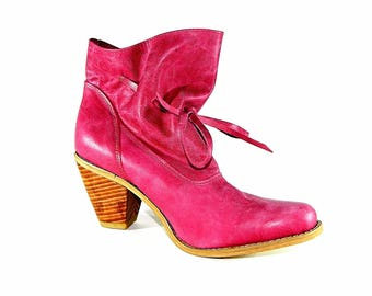 Leather High Heel Ankle Wrap Boots