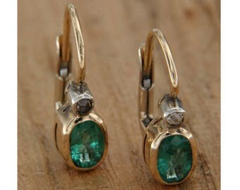 14 KT yellow gold earrings. With emeralds and diamonds, Monachella pendants with natural stones, Italian jewels with emerald and diamond