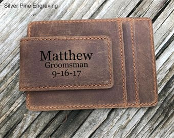 Groomsmen Gift, Groom To Groomsmen Gifts, Leather Money Clips, Personalized Gift, Wedding Gift, Custom Money Clip, Groomsman Gift, Mens Gift