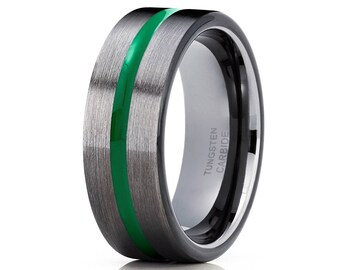 Black Tungsten Wedding Band Green Tungsten Ring Anniversary Ring Men & Women Gunmetal Tungsten Ring Gray Tungsten Ring