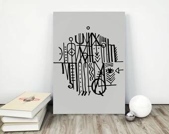 nordic print, lost language, modernist print, scandinavian print, minimal printable, weed art, mushroom art, scandinavian affiche, retro art