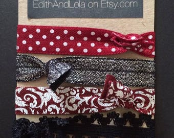 Coaraline Hair Ties Elastic handmade unik fun dots lace and a bit of sparkle
