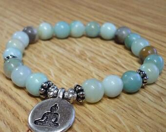 Bracelet Amazonite Buddha Charm Adjustable Mala SM0036