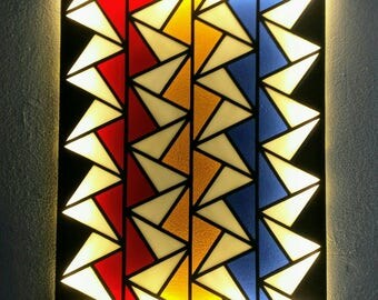 Stained Glass LED Lamp No.03. Geometric Wall Art. LED Light Wall Art. Geometric Stained Glass. LED Wall Lamp. Abstract Stained Glass Art.