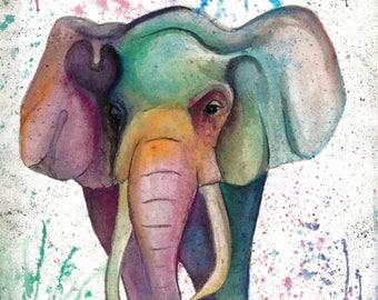 "Rainbow Elephant - 18""X12"" Poster Print"