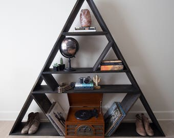 The Wander and Wood Co-Triangle Book Shelf, Geometric furniture, Boho Style,