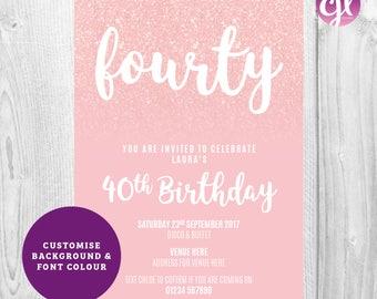 x50 Hot Pink Glitter Invitations| Birthday Party invitations | Pink Glitter Invitations | Glitter Invitations | Girls Birthday Invitations