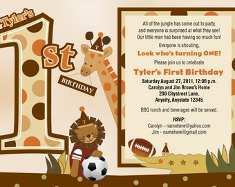 Safari Animal Birthday Invite