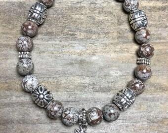 Snowflake Jasper bead bracelet w/silver owl charm, brown marbled, silver embossed, owl charm bracelet, christmas gift, under 20, for her