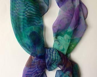 Sea Hand printed silk chiffon scarf wearable art aqua, purple, lilac, green, blue