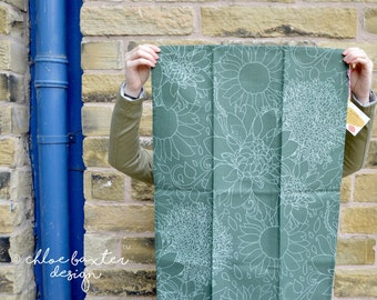 Green Pretty Flowers Tea Towel! Matching Items are Available!