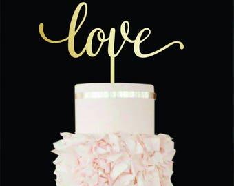 Wedding Cake Topper love Love cake topper gold Wood Cake Topper Love sign Custom Cake Topper Engagement Cake Topper  Gold Love Cake Topper
