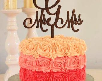 Wedding Cake Topper Letter G cake topper Initial cake topper Surname cake topper Mr and Mrs Cake Topper gold Wood monogram cake topper G S R