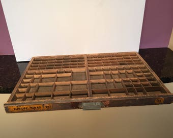 Vintage French Printer's Drawer from a Deberny Et Peignot