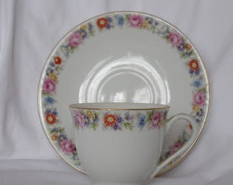 Vintage Cherry China Tea Cup or Demitasse and Saucer Made in Occupied Japan  , Roses and Poppies, Cup with Pedestal Base