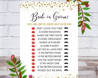 Bride Or Groom, Bridal Shower Games, Printable, Who Said It, He Said She Said, Guess Who, Cards, Size 5x7, Gold, Instant DIGITAL DOWNLOAD