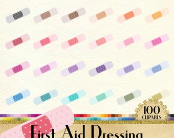 100 Polka Dot First Aid Dressing Clipart, Medical Clipart, World Cancer Day Clipart, 100 PNG Clipart, Planner Clipart, Transparent Clip Arts