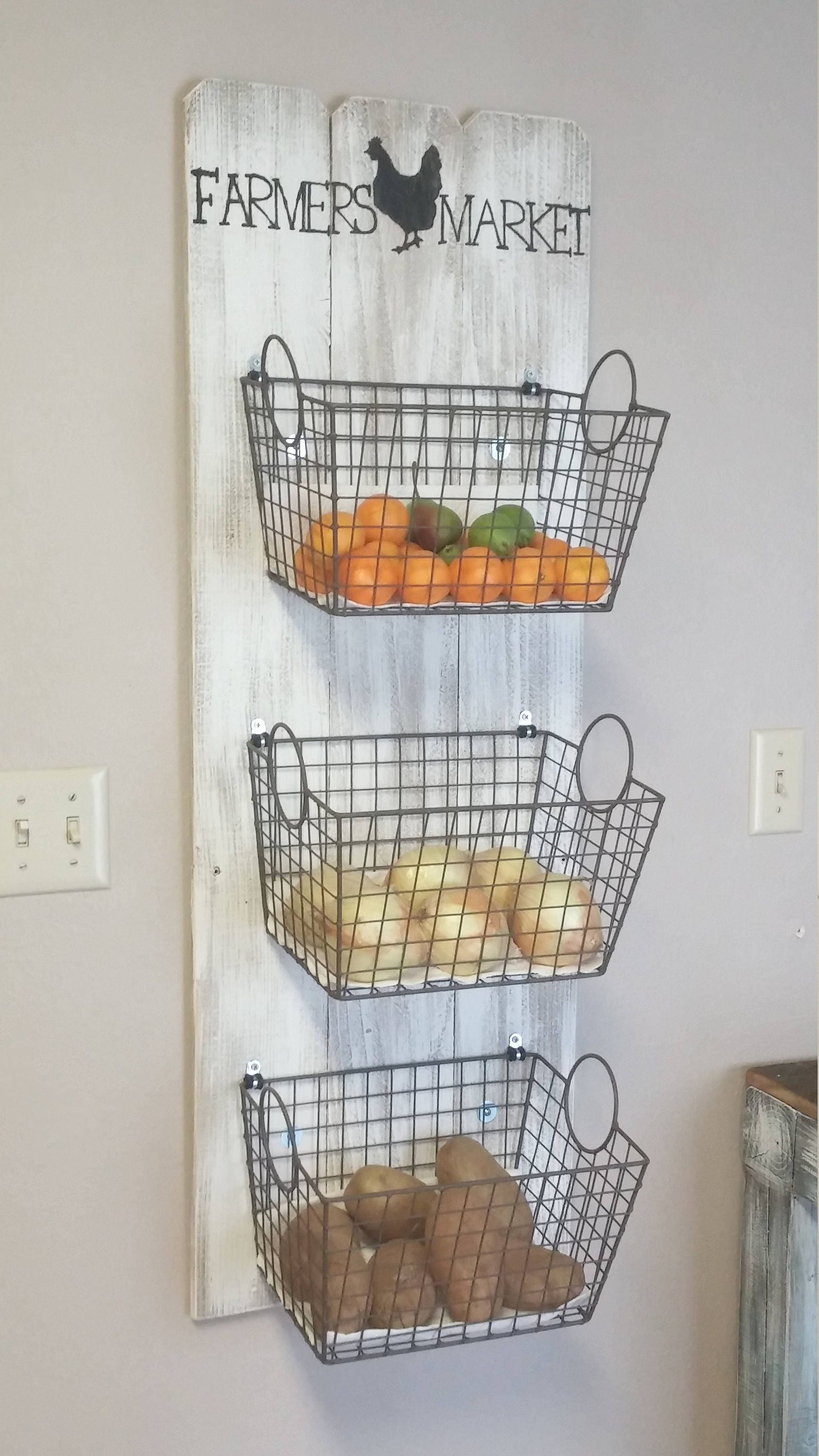 Farmers Market Basket Wall Decor, Farmers Market Produce Storage, Rustic  Produce Rack, Farmhouse Style Produce Rack, Rustic Kitchen Decor