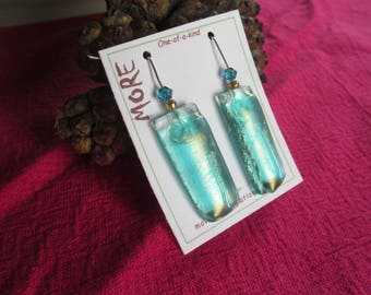 Earrings green blue iridescent glass of water with blue metallic reflection effect