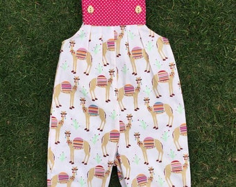 Baby Romper, Camel Print, Baby Girls Outfit, Vintage Overalls, Onesie, Flutter Sleeves, Pink, Special Occasion