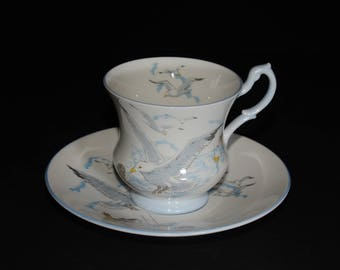 QUEEN'S, ROSINA, Queens, Seagull, Sea Gull, Tea Cup Saucer, Fine Bone, Footed, England, China, Blue Rimmed, England, Vintage