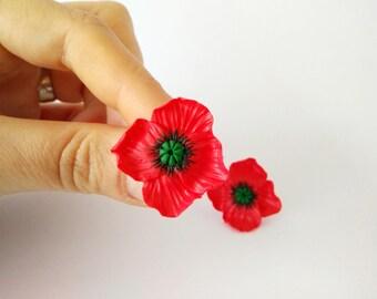 Poppies-lobe stud earrings with fimo/handmade polymer clay poppy